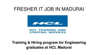 Fresher IT Jobs In Madurai