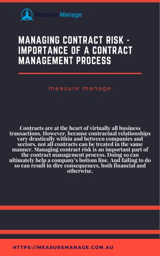 Managing Contract Risk - Importance of A Contract Management Process