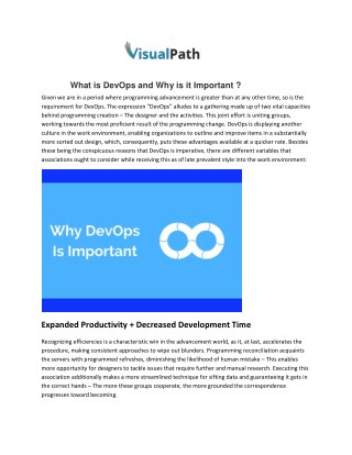 What is DevOps and Why is it Important | DevOps Online Training Course