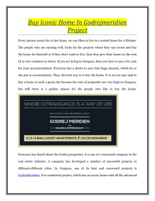 Buy Iconic Home In Godrejmeridien Project