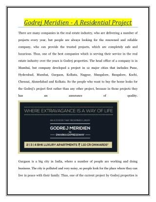 Godrej Meridien - A Residential Project