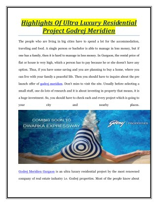 Highlights Of Ultra Luxury Residential Project Godrej Meridien