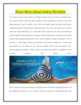 Know More About Godrej Meridien