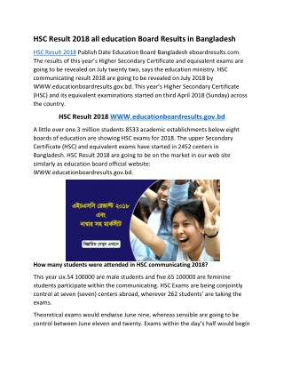 HSC Result 2018 BD All education Board Results