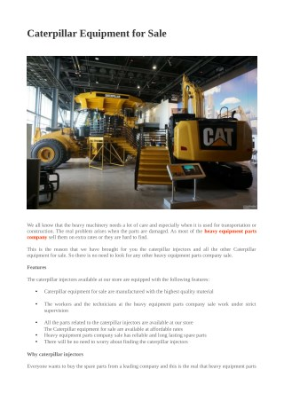 Caterpillar Equipment for Sale