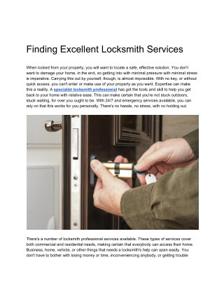 Finding Excellent Locksmith Services
