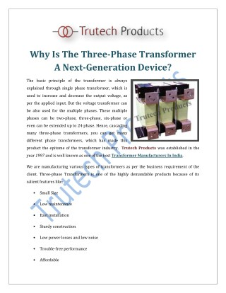 Why Is The Three Phase Transformer A Next Generation Device