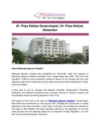 Dr. Priya Dahiya Gynecologist | Dr. Priya Dahiya| Elawoman