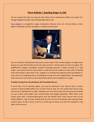 Vince Rabiola | Dazzling Singer in USA