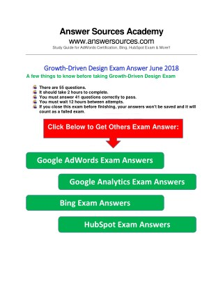 Growth-Driven Design Exam Answers June 2018