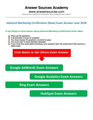 Inbound Marketing  Exam Answers June 2018