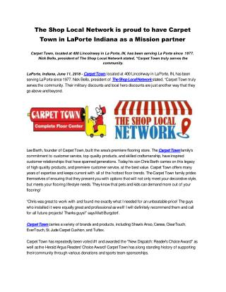 The Shop Local Network is proud to have Carpet Town in LaPorte Indiana as a Mission partner