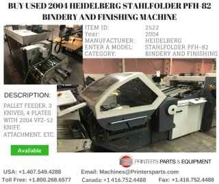 Buy Used 2004 Heidelberg Stahlfolder PFH-82 Bindery and Finishing Machine