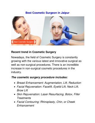 Best Cosmetic Surgeon in Jaipur