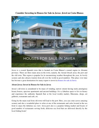 Houses for Sale in Javea