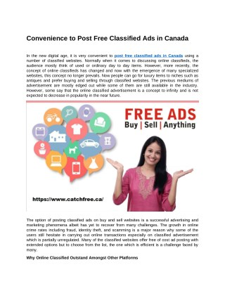 Convenience to Post Free Classified Ads in Canada