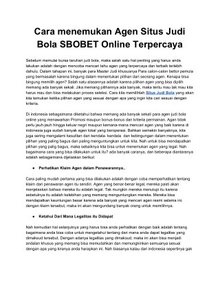 Situs Judi Bola SBOBET Online Terpercaya