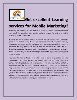 Get excellent Learning services for Mobile Marketing!