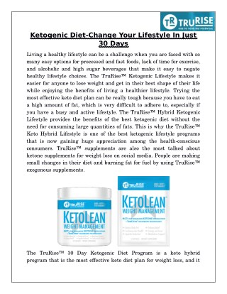 Ketogenic diet-Change your lifestyle in just 30 days