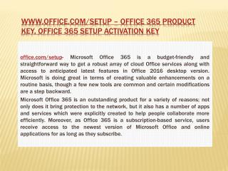 www.office.com/setup – Office 365 Product Key