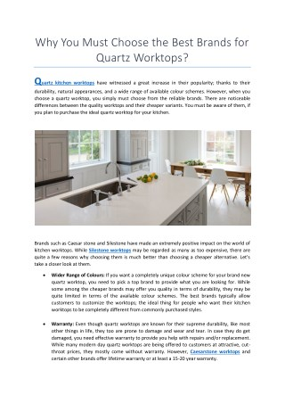 Why You Must Choose the Best Brands for Quartz Worktops