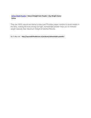 Ashwa Shakti Powder | Natural Weight Gain Powder | Buy Weight Gainer Online