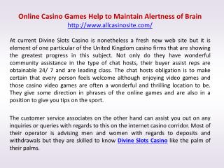 Online Casino Games Help to Maintain Alertness of Brain