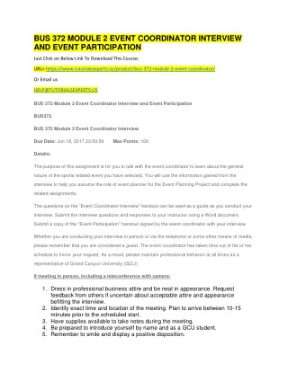 BUS 372 MODULE 2 EVENT COORDINATOR INTERVIEW AND EVENT PARTICIPATION