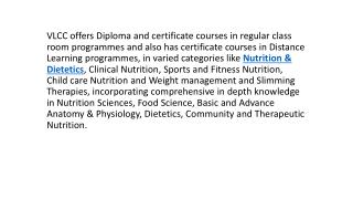 Nutrition Programmes, Nutrition Professional Diploma