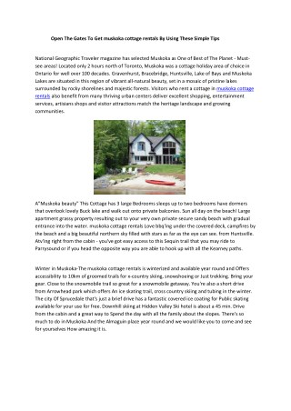 muskoka cottage rentals
