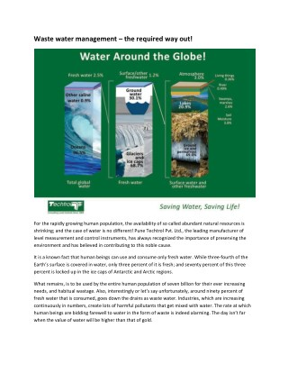 Waste water management – the required way out!