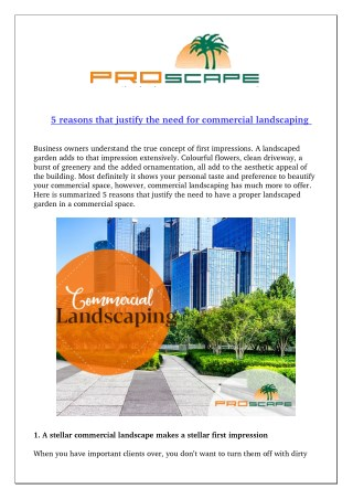 5 reasons that justify the need for commercial landscaping