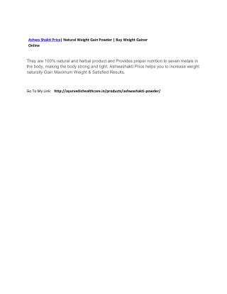 Ashwa Shakti Price| Natural Weight Gain Powder | Buy Weight Gainer Online