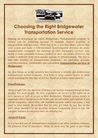 Choosing the Right Bridgewater Transportation Service
