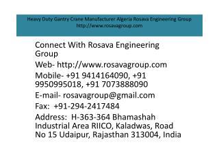 Heavy Duty Gantry Crane Manufacturer Algeria Rosava Engineering Group
