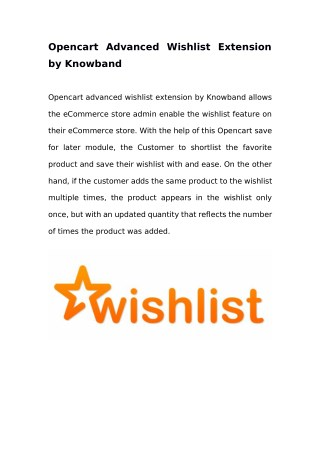 Opencart Advanced Wishlist Extension