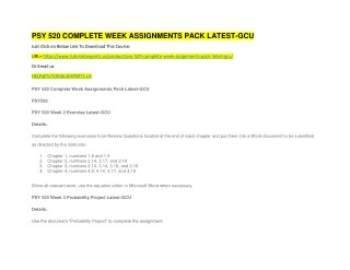 PSY 520 COMPLETE WEEK ASSIGNMENTS PACK LATEST-GCU