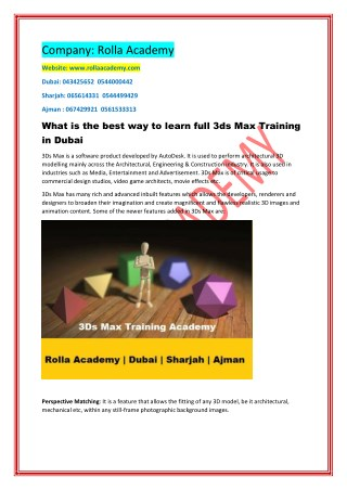 What is the best way to learn full 3ds Max Training in Dubai