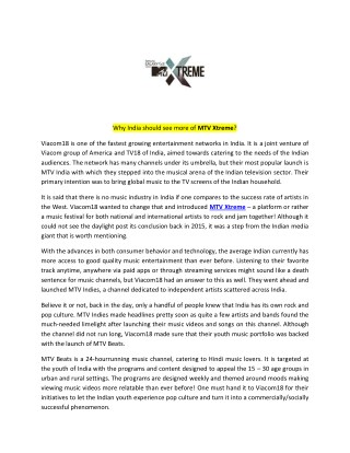 PPT - Why India should see more of MTV Xtreme? PowerPoint