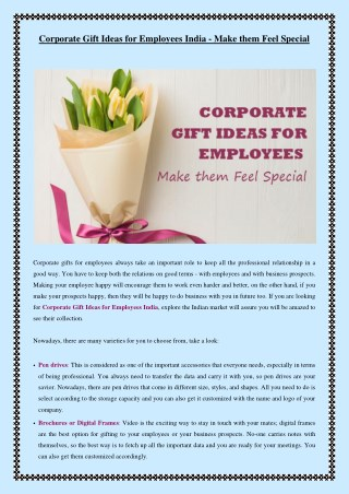Corporate Gift Ideas for Employees India - Make them Feel Special