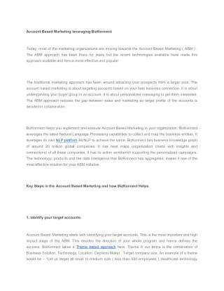 Account Based Marketing leveraging BizKonnect