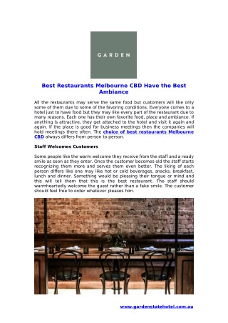 Best Restaurants Melbourne CBD Have the Best Ambiance