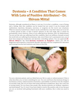 Dystonia – A Condition That Comes With Lots Of Positive Attributes!
