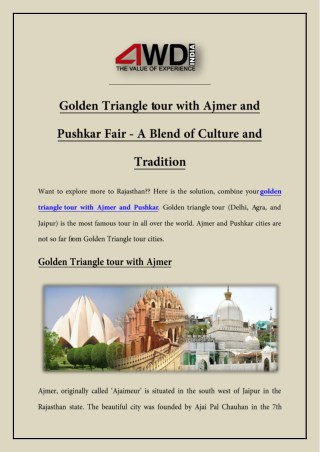 Golden Triangle tour with Ajmer and Pushkar Fair - A Blend of Culture and Tradition
