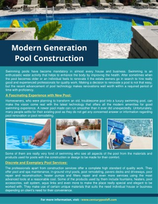 Modern Generation Pool Construction and Remodeling