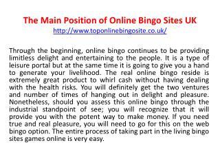The Main Position of Online Bingo Sites UK