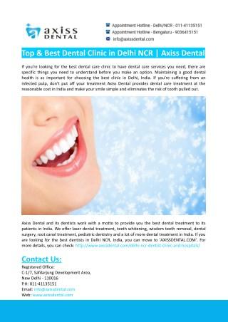 Top & Best Dental Clinic in Delhi NCR- Axiss Dental
