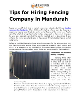 Tips for Hiring Fencing Company in Mandurah