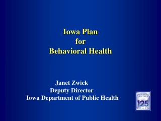 Iowa Plan  for  Behavioral Health
