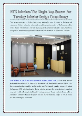 HTS Interiors The Single Stop Source for Turnkey Interior Design Consultancy